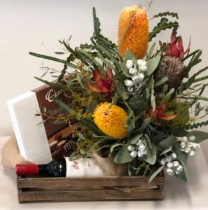 Flowers Chocolates and Wine Hamper